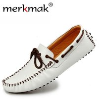 Wholesale men casual shoes cowhide moccasin for sale - Group buy Merkmak New Brand Men Genuine Leather Loafers Soft Casual Cowhide Driving Shoes Comfortable Slip On Moccasins Loafers