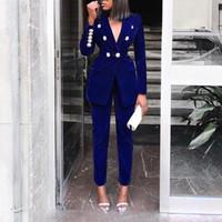 blazers formais para o trabalho venda por atacado-Senhora à moda 2 peça Blazer Suits 2019 Outono Inverno Mulheres Abotoamento Blazer e Long Pant Set ol Outfits elegantes de trabalho