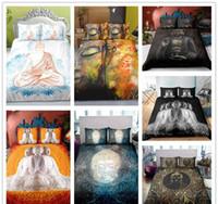 camas dobles chinas al por mayor-serie Buda estilo chino Tamaño del lecho Individual Doble Rey suave para la cubierta de adultos edredón conjunto negro Suministros de cama clásica