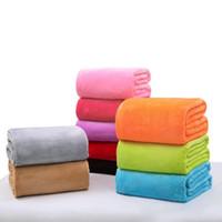 Wholesale super plush blanket resale online - Super Soft Warm Flannel Fleece Blankets Soft Solid Blankets Solid Bedspread Plush Winter Summer Throw Blanket for Bed Sofa Car DH0426