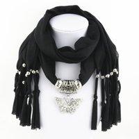 collares de bufanda para mujer al por mayor-Collares Bufanda Aleación de hierro Colgante de mariposa Color sólido Bufanda de la borla para las mujeres Accesorios 180 * 40 cm