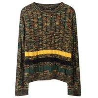 diseño de suéter multicolor al por mayor-Suéter de las mujeres Bloque de color Jersey de rayas Jersey de varios colores Diseño de pasarela de lujo Manga larga Jerseys Punto superior Vintage