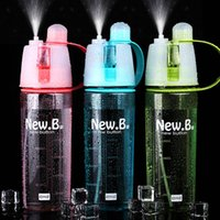 Wholesale pink plastic bottle spray for sale - Group buy 600ml Spray Sports Water Bottle Portable Outdoor Sport Water Kettle Anti Leak Drinking Cup with Mist camping plastic bottle FFA1864