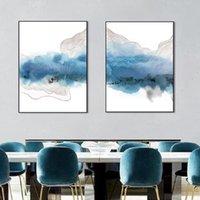 художественная галерея принты оптовых-Абстрактная Геометрия Плакат Синий Холст для Живописи Wall Art Prints Gallery Картинки для Офиса Гостиная Интерьер Декор