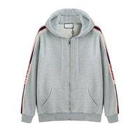 zip chemises achat en gros de-19ss Italy Designers Brands New Men SWEAT-SHIRT À CAPUCHON ZIPPÉ Logo STRIPE Sweats à Capuche Femme Sweat-shirts Homme Vêtements WM013