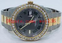 ingrosso orologi a quadranti gialli automatici-AAA Quality Datejust II 116333 orologio in oro giallo 18 carati SS / SS 41mm orologio meccanico uomo in oro grigio con diamanti quadrante bianco