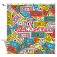 rideaux de douche vintage achat en gros de-Rideau de douche en tissu avec logo vintage Monopoly