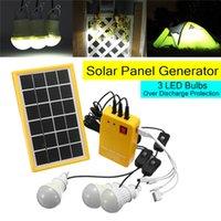 ampoules solaires d'intérieur achat en gros de-5V USB chargeur système domestique système générateur de panneau d'alimentation solaire avec 3 ampoules LED éclairage intérieur / extérieur sur décharge protéger