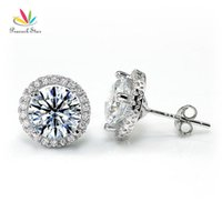 Wholesale stud earrings peacock resale online - Peacock Star Halo Stud Earrings Solid Sterling Silver Carat Round Cut Bridal Bridesmaid Jewelry CFE8102 CX200706