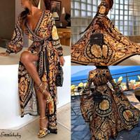 moda sarma elbiseleri toptan satış-Moda Casual Bayan Boho Wrap Örgün Düğün Gelinlik Uzun Maxi Elbise Gevşek Plaj Tatil Yaz Elbise Plaj Sundress