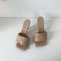 Wholesale women wove shoes resale online - 2020 Latest Real leather slippers women shoes Square sole mules open toed Woven high heel slipper soft nappa Lido Sandals cm heel