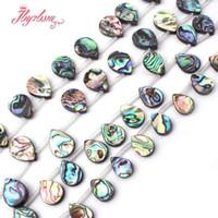 abalone steine großhandel-12x16.13x18mm Glatt Tropfen Abalone Muschel Perlen Nautral Stein Perlen Für DIY Halskette Armbänder Schmuck Machen 15