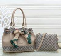 bolsa de mensajero de hombro marrón de las señoras al por mayor-Bolso de las mujeres de alta calidad bolso de totalizador marrón bolso de las señoras bolso de hombro bolsas de mensajero de la señora del embrague monedero retro de dos piezas conjunto