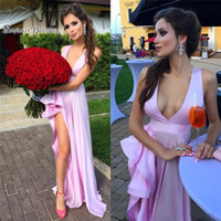 Wholesale green apple sexy lady for sale - Group buy Charming Pink V Neck Prom Dresses Amazing High Side Split Ruffles Satin Young Lady Party Dress Sleeveless Formal Evening Dresses