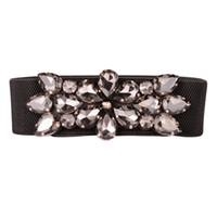 Wholesale black elastic rhinestone belt resale online - Elegant Rhinestone Women Waist Belts Shinning Crystal Girl Lady Thin Elastic Corset Belts