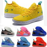 ingrosso scarpe blu kd-Scarpe da basket economici Donna KD 11 in vendita Oreo Nero Easter Blue Giallo Rosso Ragazzi Ragazze Youth Kids Kevin Durant XI scarpe da tennis tennis in vendita