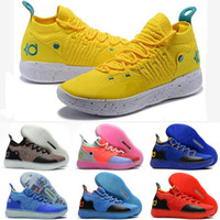 zapatos kd azul al por mayor-Zapatillas de baloncesto KD 11 baratas para la venta Oreo negro Pascua Azul Amarillo Rojo Chicos Chicas jóvenes Niños Kevin Durant XI tenis tenis para la venta