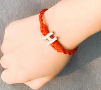 bracelete de corda vermelha venda por atacado-2019 New Red thread Cristal Letras Charme Pulseira com Corda cadeia Sorte Pulseira Cord Cordas Linha Artesanal de Jóias para unisex