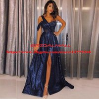 Wholesale cocktail party dress online - Navy Blue Sequins Prom Dresses Sexy One Shoulder Applique Side Split Formal Evening Gowns Cheap Cocktail Party Dress vestido de fiesta