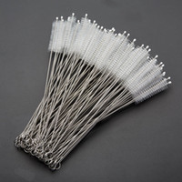 240*50*10mm Stainless Steel Handle Nylon Drinking Straws Cleaning Brush Pipe Tube Baby Bottle Cup Reusable Household Cleaning Tools