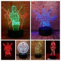 hafif ev 3d toptan satış-Avengers Deadpool 3D LED Gece Işığı USB 7 Renk Dekorasyon Illusion RGB Evi Hould Lambası Çocuk Tatiller Doğum Arkadaş Hediyeler