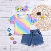 baby girl tops jeans toptan satış-Moda bebek giysileri kız yenidoğan Yürüyor Çocuk Bebek Kız Gökkuşağı Baskı Kısa Kot Saç Bandı Kıyafetler Set Marka Infa Tops