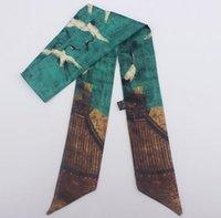ingrosso cravatte cinesi-Sciarpa di seta da donna cinese in stile cinese Uccello fortunato Modello animale stampato Nastro per avvolgere piccoli legami per la decorazione del collo della borsa