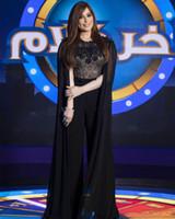 siyah şifon abayas toptan satış-2019 Zarif Siyah Dubai Tulumlar Abiye Jewel Boyun Çizgisi Üst Dantel Kaftan Abaya Balo Parti Kıyafeti Şifon Anne Pantolon Abiye
