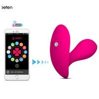 mariposas de control remoto al por mayor-Leten Bluetooth Conectar Aplicación Inteligente Control Remoto Wearable Butterfly Vibrador, G-Spot Clítoris Vibrador Juguetes Sexuales Para mujeres