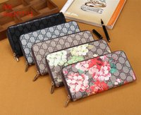 vintage tarzı hediye kutuları toptan satış-Yüksek kaliteli pu deri kadın klasik tarzı yeni baskı bayanlar erkek cüzdan uzun çanta moda lüks tasarımcı marka cüzdan hediye kutusu