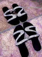 Wholesale sexy beach flip flops for sale - Group buy Shoes Open Toe Roman Beach Sandals ladies Sexy Flip Flops Black Non slip Slides Women Summer Flat Slippers Rhinestone