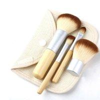 pacote quente portátil venda por atacado-Madeira portátil Pincéis De Maquiagem 4 Pcs Kit Set Hot Bambu Elaborado Makeup brushTools Com Embalagem Saco De Serapilheira