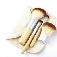 paquete caliente portátil al por mayor-Pinceles de maquillaje de madera portátiles 4 Unids Set Kit Hot Bamboo Elaborar Herramientas de pinceles de maquillaje con bolsa de arpillera de embalaje