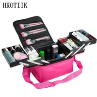 Wholesale wood tattoos for sale - Group buy Fashion Women s Makeup Cosmetic Case Case Beauty Salon Tattoo Manicure Toolbox Large Capacity Multilayer Clapboard Cosmetic Bag