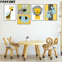 Wholesale painted giraffe resale online - FOOCAME Giraffe Lion Elephant Nordic Animal Poster Wall Art Canvas Painting Print Baby Nursery Decoration Pictures Kids Room