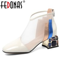 Wholesale euro style boots resale online - FEDONAS Summer Euro Style Fashion Women Cow Patent Leather Mixed Colors Ankle Boots Mesh Crystal Heel Back Zipper Boots Woman