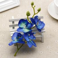 blaue plastikhochzeit blumen großhandel-10 teile / los Seide Künstliche Orchidee Bouquet für Zuhause Hochzeit Dekoration Lieferungen Orchis Pflanzen DIY Blau Weiß