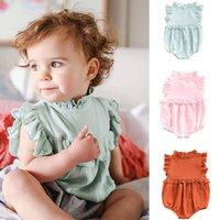 üç sevimli kız bebek toptan satış-INS üç renk bebek kız tulum fırfır kız tulumlar bebek çocuk bebek sevimli giyim DHL ücretsiz