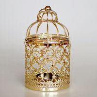 şamdanlık feneri toptan satış-Vintage Demir Içi Boş Asılı Mum Fener Şamdan Ev Düğün Odası için Noel Ev Dekoratif Gümüş Altın