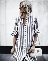 Wholesale womens half shirts online – design Womens Dresses New Arrival Summer Fashion Casual Striped Dress Flare Half sleeved Loose Button Shirt Mini Dress Vestidos