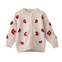 chaquetas infantiles de punto al por mayor-Suéter de los niños suéter de cerezo niñas chaqueta para niños niñas cardigan de punto otoño bebé