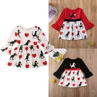 Wholesale love child baby clothes for sale - Group buy 2020 Valentine s Day Baby Girls Love Princess Dress Children Flare Sleeve Love Heart Dinosaur Dresses Fashion Boutique Kids Clothing M1033
