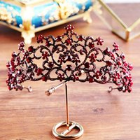 ingrosso monili barocco alto-Barocco High End Red Wedding Crown Boutique Headwear Wedding Tiara Wedding Jewelry all'ingrosso dei capelli J 190430