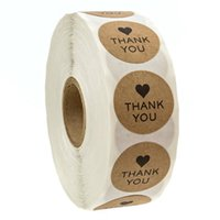 1 inch thank you round kraft paper package sticker with black heart market promotion gift packaging self adhesive label baking DIY label