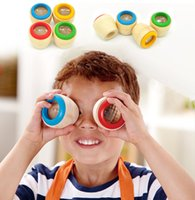 Wholesale unisex wood toy for sale - Group buy Kids Magical Bee Eye Effect Kaleidoscope Wooden Toy Multi Prism Observation Colorful World Wooden Toys L