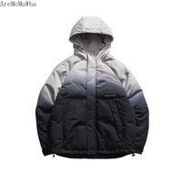degrade kış ceket toptan satış-AreMoMuWha 2019 Kış Yeni Japon Retro Degrade Hit Renk Kapüşonlu Pamuk erkek Amerikan Eğilim Takım Pamuk Coat Parkas QX232