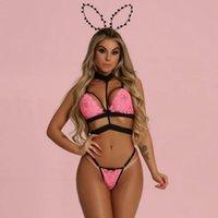 ingrosso più la biancheria intima rosa calda di formato-S-2XL 2Pcs Set Lingerie Sexy Womens Pink Lace Bra + Perizoma Lingerie Sexy Hot Erotic Babydoll G-String Plus Size Underwear