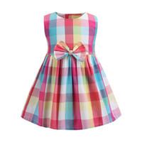 ingrosso migliori abiti da principessa-I bambini di alta qualità Plaid Vest Gonna Pure Cotton Girls Dresses Ragazze principessa traspirante Vestiti del bambino Ins Best Selling