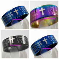 Wholesale serenity jewelry resale online - Serenity prayer cross bible christian L stainless steel rings religious jewelry jesus finger ring