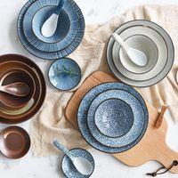 louça de cerâmica japonesa venda por atacado-Japonês clássico Ceramic Tableware Kitchen Soup Noodle Rice Bowl 6 polegadas 8 polegadas Big Ramen Tigela E Tea Cup Restaurant
